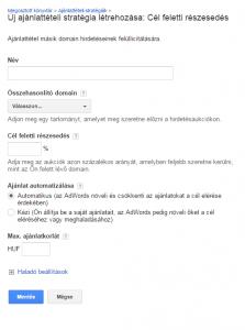 Google AdWords - Ajánlattételi stratégia: Cél feletti részesedés