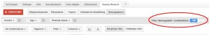 Google Display Network - Demográfiai kombinációk megtekintése
