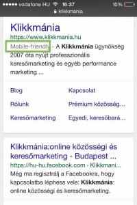 Google mobilbarát címke.