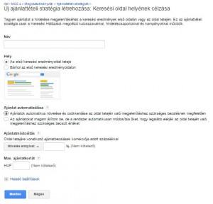 AdWords - Rugalmas ajánlattételi stratégia: Keresési oldal helyének célzása