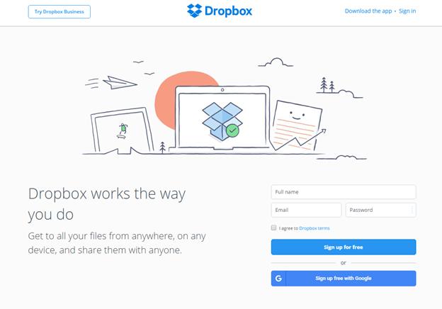 5 konverzióoptimalizálási technika - Dropbox