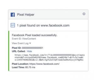 Facebook analitika: Pixel Helper