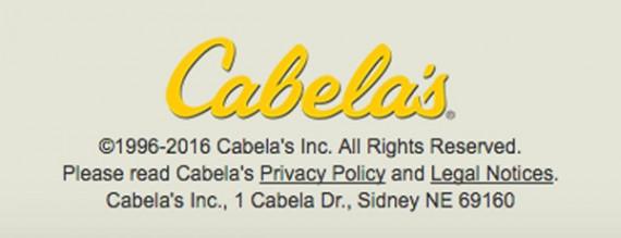 E-kereskedelmi következtetések: Lábléc - Cabela's