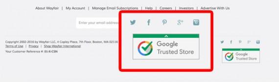 E-kereskedelmi következtetések: Lábléc - Google Trusted Store