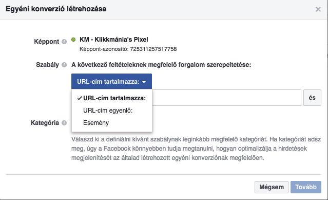 Facebook Pixel: Egyéni konverziók