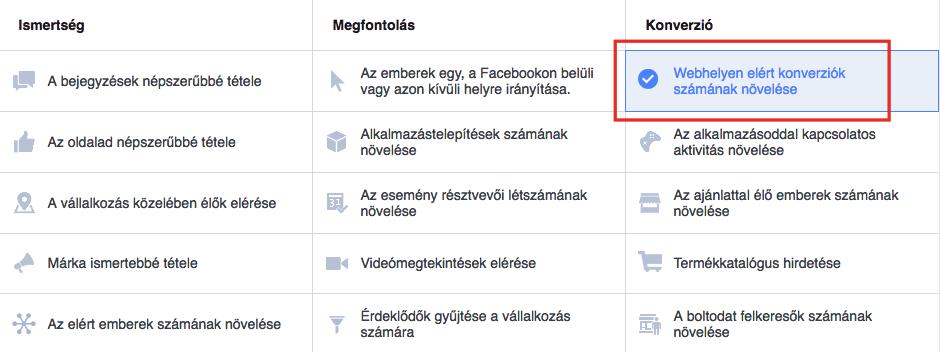 Facebook Pixel: Konverzió fókuszú kampány