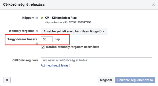 Facebook Pixel: Retargeting időkeret