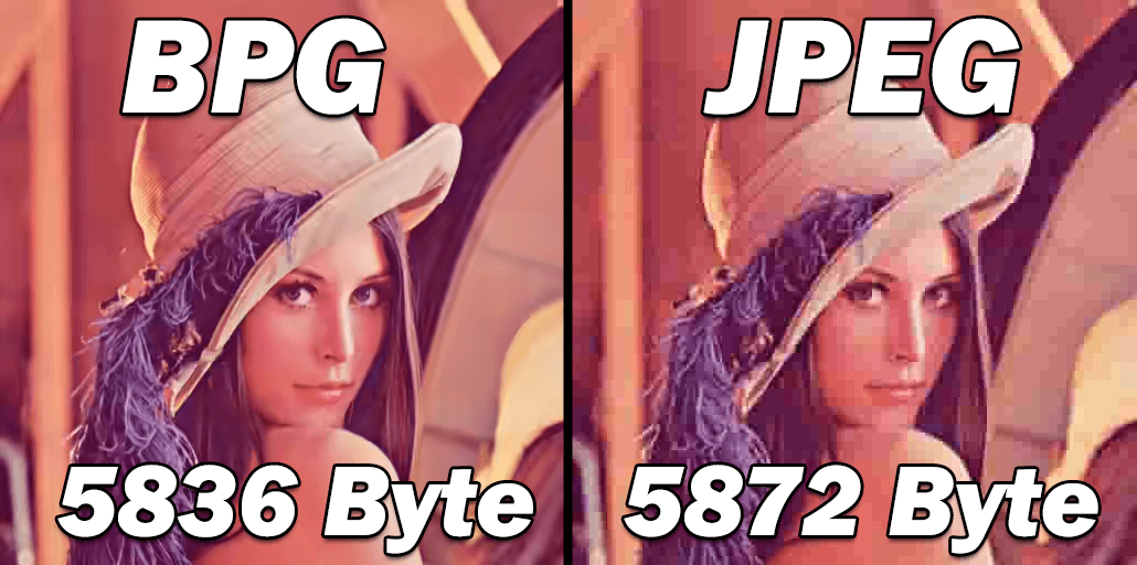 A bpg ugyanakkora fájlméret mellett sokkal jobb minőséget biztosít a jpg-hez képest