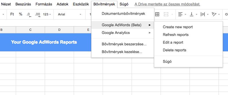 Kép 1. - Adwords bővítmény a Google Táblázatban