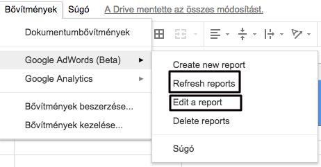 Kép 2. - AdWords bővítmény beállítás a Google Táblázatban