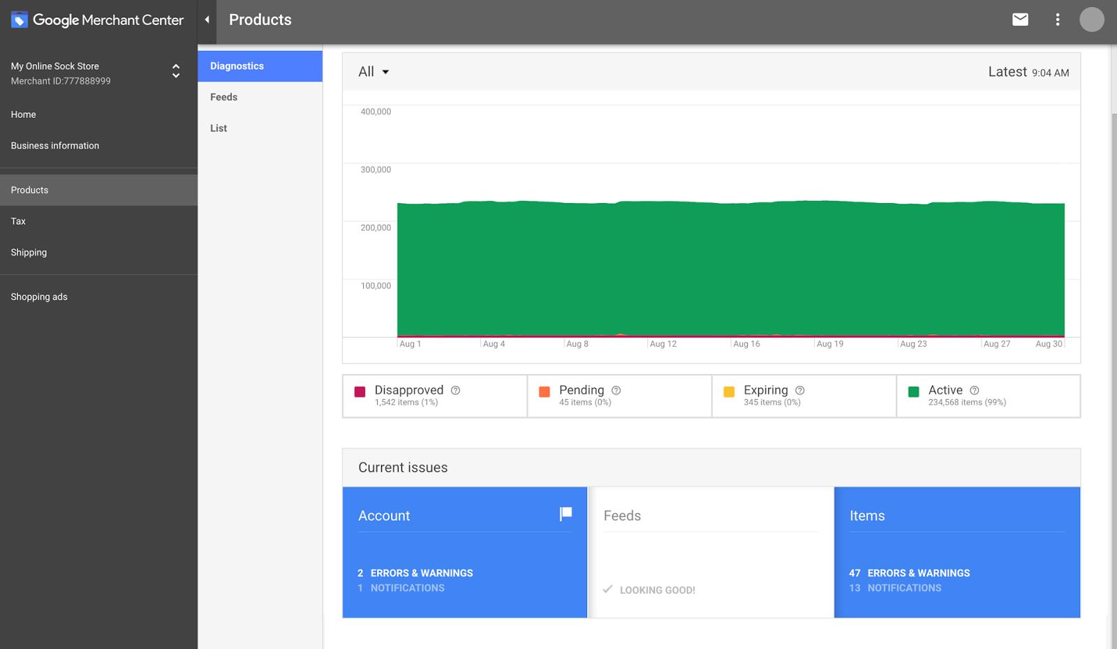 Google Merchant Center regisztráció