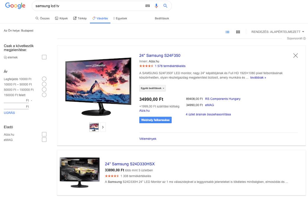 Google Shopping képtalálatok