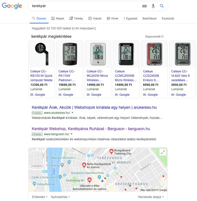 Google Shopping találatok