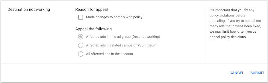 Google Policy Appeal