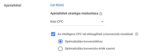 Shopping kampány - Intelligens CPC