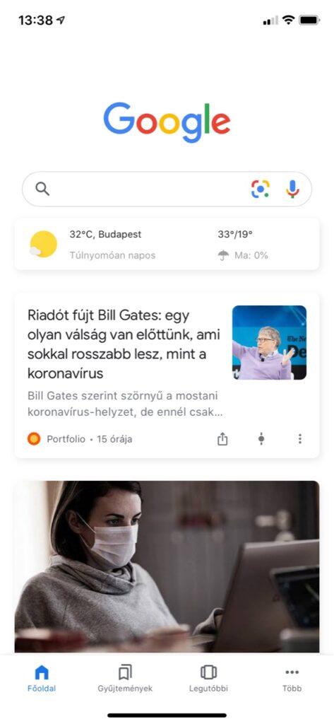 Google Discover hírcsatorna